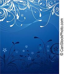 azul, floral, plano de fondo