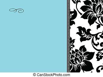 azul, floral, vetorial, experiência preta