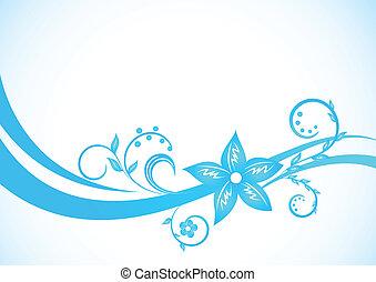 azul, floral, vetorial, fundo