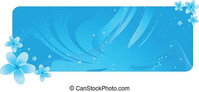azul, flores tropicais, bandeira