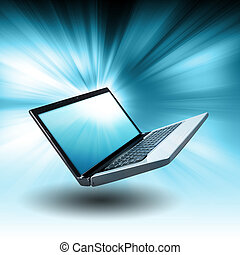 azul, flotar, computadora, computador portatil, con