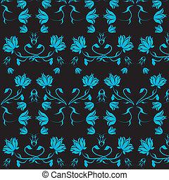 azul, flowers., fondo negro
