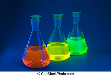 azul, fluorescence, frascos