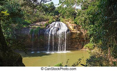 azul, fluxo, cachoeira, em, vietnã