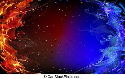 azul, fogo, abstratos, vermelho