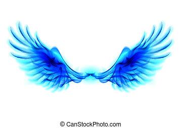 azul, fogo, asas