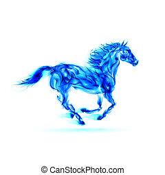 azul, fogo, executando, horse.