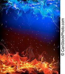 azul, fogo, experiência vermelha