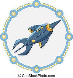 azul, foguete espacial, com, um, redondo, quadro, -, vetorial
