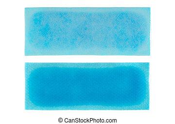 azul, folha, isolado, rapidamente, remendo, esfriando, alívio, febre, branca, hydrogel, gel