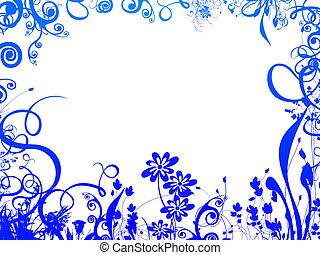 azul, follaje, marco
