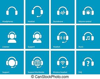 azul, fondo., auricular, iconos