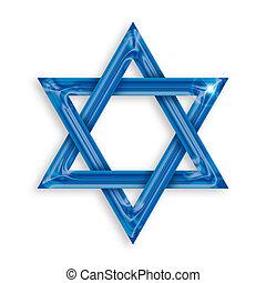 azul, fondo blanco, hexagram, ilustración