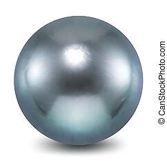 azul, fondo., blanco, vector, perla