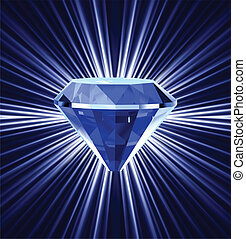 azul, fondo., brillante, diamante, vector