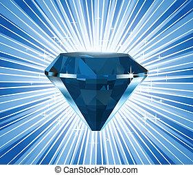 azul, fondo., diamante, vector