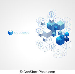 azul, fondo., resumen, cubos