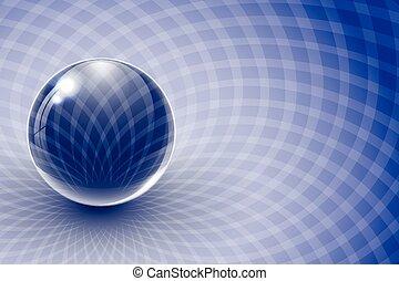 azul, fondo., resumen, pelota, vidrio
