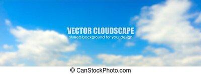 azul, fondo., vector, cielo, clouds.