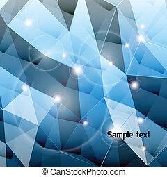azul, fondo., vector, triángulo