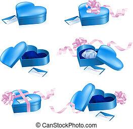 azul, forma corazón, conjunto, cajas