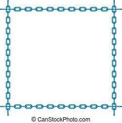 azul, forma, cuadrado, cadena