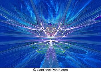 azul, forma de arte, sky., campos, magnético, extranjero, gráficos, misterioso, fractal