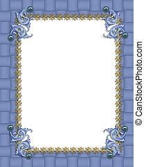 azul, formal, convite, borda