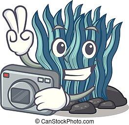 azul, fotógrafo, agua, alga, mar, debajo, caricatura