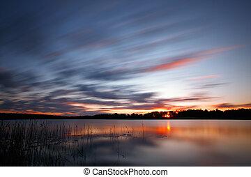azul, frío, encima, salida del sol, lago