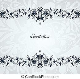 azul, frame., vendimia, vector, plano de fondo, floral