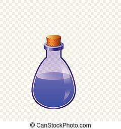 azul, frasco, ícone, estilo, caricatura