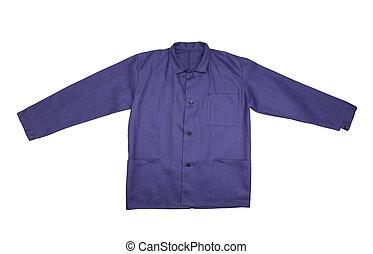 azul, frente, camisa, vista