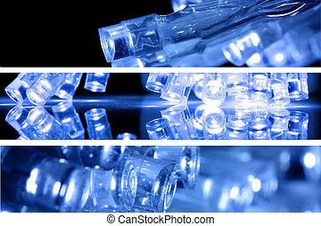 azul, fue adelante, luces, en, tres, tiras