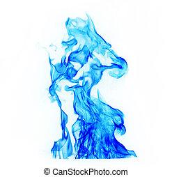 azul, fuego, fondo blanco, llamas
