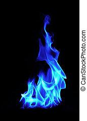 azul, fuego, llamas, en, fondo negro