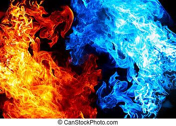 azul, fuego, rojo