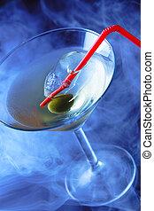 azul, fumaça, copo coquetel