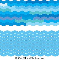 azul, fundos, onda