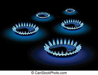 azul, gás, chama