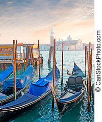 azul, góndolas, venecia, orilla