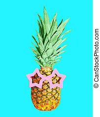 azul, gafas de sol, colorido, ananas, plano de fondo, piña