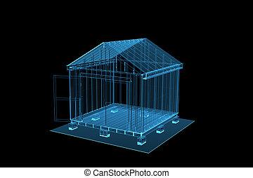 azul, galpão, representado, xray, transparente, 3d