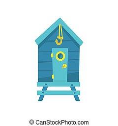 azul, gancho, praia, cabana