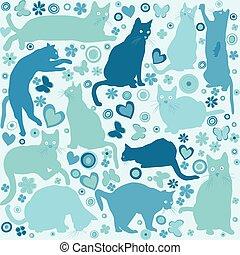 azul, gatos, fundo, crianças