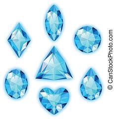 azul, gemas, blanco, conjunto, aislado