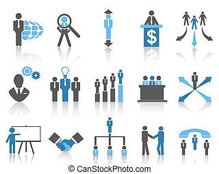 azul, gerência, negócio, série, ícones