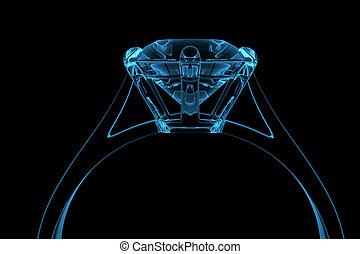 azul, gerado, computador, anel, diamante