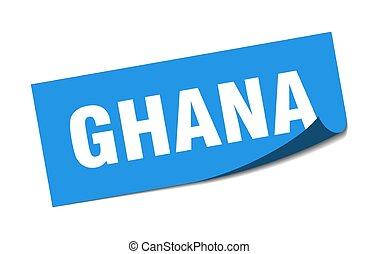 azul, ghana, policía, sticker., cuadrado, señal