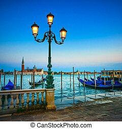 azul, giorgio, san, veneza, itália, gondole, maggiore, experiência., lâmpada, rua, pôr do sol, igreja, marco, europe., crepúsculo, ou, gôndolas